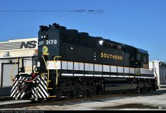 """A new addition to Norfolk Southern's """"heritage fleet"""": Southern Railway SD40 #3170 was built in April of 1971 and served for Southern and Norfolk Southern until being retired in 2008. It was recently saved from the back lot and rebuilt into operating condition at NS's Juniata Shop in Altoona, Pennsylvania, and repainted into its original Southern colors at NS's paint shop at Debutts Yard in Chattanooga, Tennessee."""