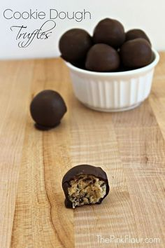 Easy, no-bake cookie dough truffles. Ready in minutes. Get your chocolate and cookie dough fix without the eggs!