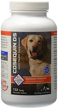 Nutramax Cosequin DS Plus with MSM Chewable Tablets, 132 Count.  Plays an important role in maintaining joint function for dogs #1 veterinarian recommended retail joint health supplement brand With MSM, a naturally occuring, organic, sulfur-containing compound Supports mobility for a healthy lifestyle in dogs of all ages, sizes, and activity levels Please read all label information on delivery