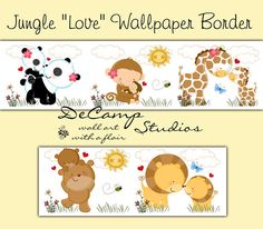 "Cute Jungle Animal ""Love"" Wallpaper Border Wall Decals for baby girl or boy nursery or children's safari room decor #decampstudios"