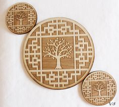 Tree in Asian Pattern Wall Decoration Set of Three by Venustudio