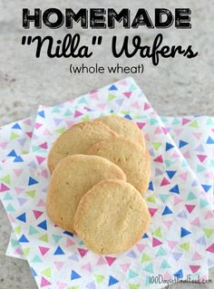 photo of homemade Nilla Wafers on 100 Days of Real Food Healthy Dessert Recipes, Baby Food Recipes, Whole Food Recipes, Snack Recipes, Healthy Sweets, Healthy Cooking, Healthy Snacks, Nilla Wafer Recipes, Whole Wheat Cookies
