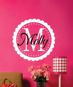 Childrens Decor  Name with Frame Vinyl Wall Decal - Personalized Girls Name Vinyl Wall Art - Kids Wall Art