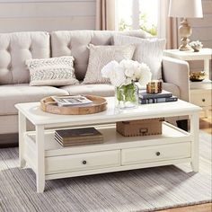 "Antique white 46""W x 23.75""D x 18""H Acacia wood, engineered wood, rubberwood Assembly Required Anywhere Coffee Table with Knobs - Antique White"