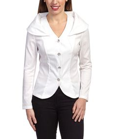 Another great find on #zulily! White Layered Collar Jacket - Women by Samuel Dong #zulilyfinds