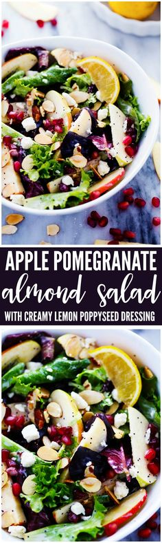A mouthwatering salad with crisp apples, pomegranate, almonds, feta cheese and crisp spring greens. The Creamy Lemon Poppyseed dressing is TO DIE FOR! You are going to love this salad!