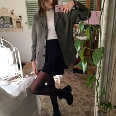 Thirfted ralph lauren jacket, tights & shirt from urban, me too boots, skirt from online