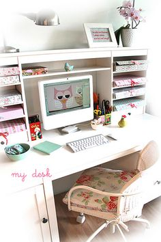 my Home Office Shabby Chic Desk, white, pink, aqua, light interior, decoration, vintage, flowers, roses