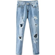 Bleach Wash Ripped Tapered Jeans Denim Blue (£19) ❤ liked on Polyvore featuring jeans, ripped denim jeans, ripped tapered jeans, destroyed jeans, denim jeans and bleached ripped jeans