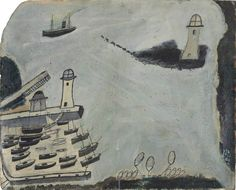 Harbour with Two Lighthouses and Motor Vessel, St Ives Bay