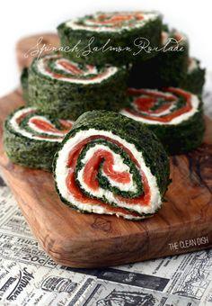 Grain Free Spinach Roulade With Smoked Salmon  Oooo, I wanna do a basil/mozzarella/tomato version!