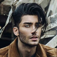 Messy Long Hair with Taper Fade and Bangs #menshairstylesfade