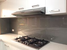 Metallic charcoal coloured glass splashbacks from Ultimate Glass Splashbacks