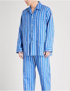 56634143d3 DEREK ROSE - Royal 208 striped cotton pyjama set