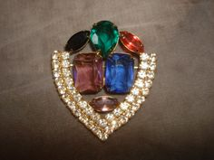 "Vintage Retro Rhinestone SHIELD Shape Pin ~ Large Multi Color Faceted Glass Stones ~ Unsigned ~ (2""x2.25"") by PastPossessionsOnly on Etsy"