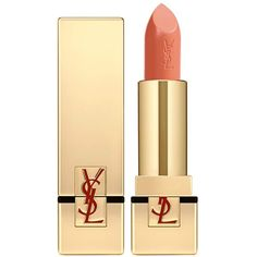 Yves Saint Laurent Beauty Women's Rouge Pur Couture Satin Radiance... (115 BRL) ❤ liked on Polyvore featuring beauty products, makeup, lip makeup, lipstick, lips, beauty, cosmetics, peach, yves saint laurent lipstick and moisturizing lipstick