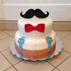 Mustache and bow tie cake Mustache Cake, Moustache Party, Mustache Birthday, Birthday Cake For Him, 70th Birthday Parties, Baby Boy Birthday, First Birthday Cakes, Birthday Ideas, Little Man Cakes