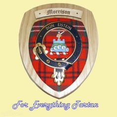 Clan Morrison Tartan Woodcarver Wooden Wall Plaque Morrison Crest 7 x 8