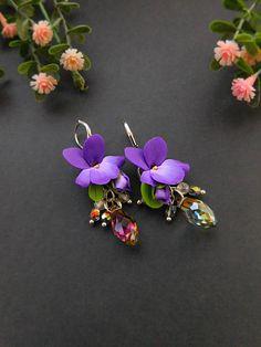 Violet drop earrings Flower jewelry Unique earrings Silver