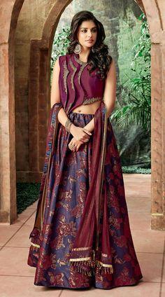 This is Pretty Purple Sleeve Less #Choli #Lehenga for Party. It is #Designer #Choli #Lehenga. This Jacquard Silk Lehenga and Taffeta Silk Choli and Lycra Net #Dupatta is Party wear.
