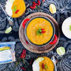 Sárgaborsó dahl Dahl, Thai Red Curry, Vegan, Ethnic Recipes, Food, India, Goa India, Essen, Meals
