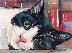 Tuxedo cat kitty #black and #white giclee print of original #watercolor painting , View more on the LINK: http://www.zeppy.io/product/gb/2/261707020832/
