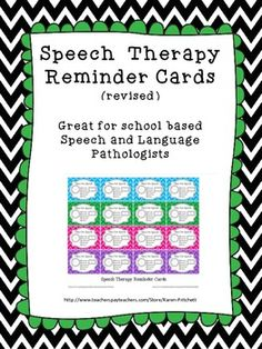 Speech Therapy Reminder Cards. Repinned by SOS Inc. Resources pinterest.com/sostherapy/.