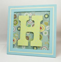 Harlow Grace monogram frame - perfect for baby shower gifts or a kids room! Wood Monogram, Framed Monogram, Alphabet Wall Art, Diy Craft Projects, Craft Ideas, Frame Crafts, Baby Crafts, Diy Wall Art, Scrapbook Paper