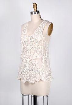 vintage inspired white lace top