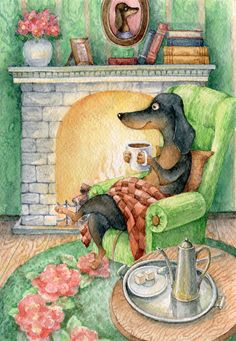 Dachshund relaxing at the fireplace. Enjoy your coffee. Vintage Dachshund, Arte Dachshund, Dachshund Love, Daschund, Animals And Pets, Cute Animals, Weenie Dogs, Scottish Terrier, Dog Art