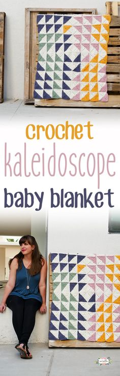 Crochet this super cute Kaleidoscope baby blanket with easy half square triangle granny squares! free pattern, easy, boy, girl, beginner, quick, unisex, unique, color, simple, chevron, video, tutorial