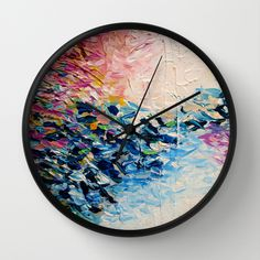 """""""Paradise Dreaming"""" by Ebi Emporium on Society 6, Colorful Whimsical Fine Art Textural Abstract Acrylic Painting Modern Brushstrokes Pink Blue Nature Landscape Artwork Wall Decor Contemporary Stylish Girly Wall Clock #abstract #art #fineart #pastel #colorful #textural #artclock #clock #wallclock #decor #homedecor #decorative #springdecor #girly"""