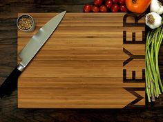 Personalized Cutting Board Custom Wedding Gift Anniversary Gift Housewarming Gift Christmas Gift Simplistic and Modern Family Name Engraved Cutting Board, Personalized Cutting Board, Cutting Boards, Custom Wedding Gifts, Personalized Wedding Gifts, Kitchen Wedding Gifts, Engagement Gifts For Her, Holiday Gifts, Christmas Gifts