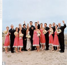 Coral and black bridal party for Utah summer wedding : Alixann ...