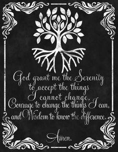 Wall Art-Chalkboard Print-Bible-Religious-Christianity-Lord-God-Christ-Prayers-Serenity Prayer Sentiment-God grant me Serenity-No.348
