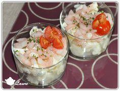 Verrines terre et mer (pommes de terre et crevettes)