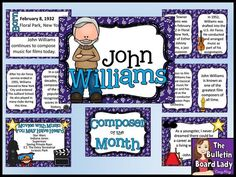 Composer of the Month John Williams -Bulletin. by The Bulletin Board Lady-Tracy King Movement Activities, Music Activities, Writing Activities, Music Lesson Plans, Music Lessons, Elementary Music, Elementary Schools, Music Classroom, Music Teachers