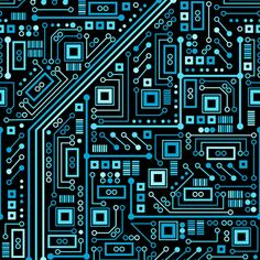 Short Circuits (Blue) by robyriker -- fabric, wallpaper or giftwrap