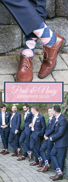 A pink and navy wedding theme is not only one of the trendiest palettes, it is one of the best coordinated as well. The subtle hues of petal and flamingo pink make the contrast of the navy pop. Put the two pink colors with the heathered navy blue into a pair of argyle socks and you have the perfectly planned groomsmen socks to go with the navy suit, petal pink bow tie, pink pocket square, pink and navy argyle socks, and oxford brown shoes. Shop for these pink and navy argyle socks and more.