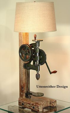 Country Decor Table Lamp, One Of A Kind Original Design, Reclaimed Vintage Artifact, Primitive Rustic Decor