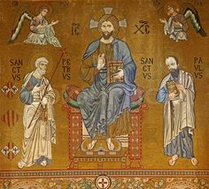 Jesus Christ mosaic, Cappella Palatina, Palermo, Sicily - flanked left by Archangel Michael & St peter & flanked right by Archangel Gabriel & St Paul, 12 th cent Palatine Chapel, Statues, Contemplative Prayer, St Peter And Paul, Der Plan, Archangel Michael, Archangel Gabriel, Sacred Symbols, Orthodox Icons