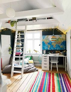 I like this idea for the lower area of the room; stairs would go to the loft/bedding area
