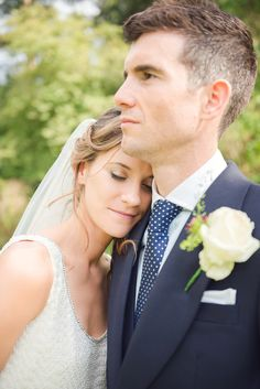 Beautiful English Countryside Wedding - love the groom's polka dot tie!
