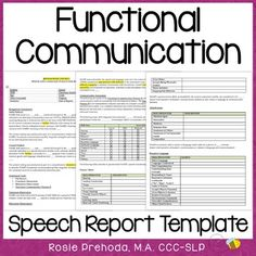 Functional Communication Speech Evaluation Report Template by RosieBeeSLP Speech Language Therapy, Speech Language Pathology, Speech And Language, Receptive Language, Report Writing, Speech Therapy Activities, Cognitive Activities, Speech Room, Our Lady