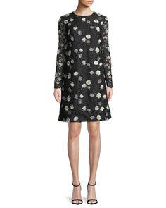 Lela Rose Jewel-Neck Long-Sleeve Floral-Embroidered Lace A-Line Dress Lace A Line Dress, Rose Lace, Lela Rose, Black Pattern, Embroidered Lace, Luxury Fashion, Cold Shoulder Dress, Dresses For Work, Long Sleeve