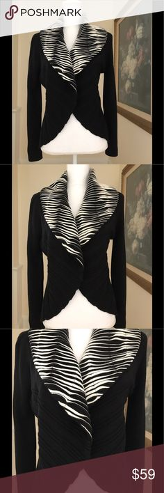 """Black & White Wide Shawl Collar Sweater Sz. Medium Ange By Sabri Ozel Black Cardigan Styled Sweater With Black And White Wide Shawl Collar. Size Medium. The Sweater Features Scalloped Edging And Detail. Italian Made Wool. 27"""" Shoulder To Base. 19"""" Underarm To Underarm. 29"""" Shoulder To Edge Of Sleeve. Ange Sweaters Cardigans"""