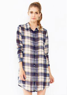 Plaid Habit Dress. Sheer plaid long sleeve shirt dress. Features a self tie around the waist. #Dresses #Plaid #Fashion #OOTD #OnlineShopping