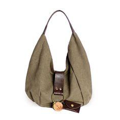 Mini Polta Olive Canvas & Leather Shoulder Bag | clueto