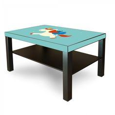 Möbelsticker für IKEA Lack Tisch 90x55cm Möbeltattoo mit Motiv Kleines Einhorn, Sticker + Rakel