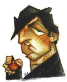 Rocko (Rocky) by faboart.  A caricature of Rocky.  Media = coloured pencils
